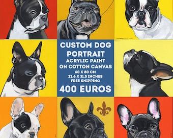 Benutzerdefinierte Hund Portrait / 60 x 80 cm