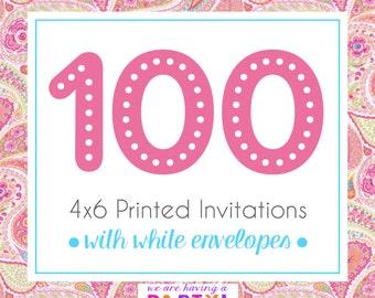100, 4x6 Invitations with White Envelopes