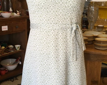 1970's Double Knit Sage Green & White Casual Dress Vintage