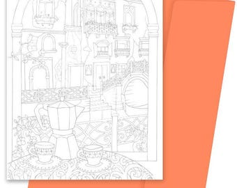 A5 Colouring Card- Espresso in Venice