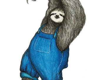 Dancing Sloth (A5 Print)