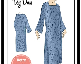 1920s Day Dress Sewing Pattern - Paper Sewing Pattern