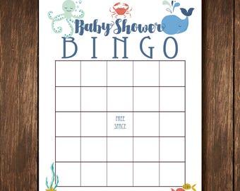 Sea Theme Bingo Shower Game - Instant Digital Download