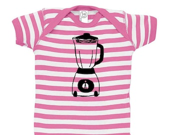 Blender Baby Onepiece, Small Kitchen Appliance, Smoothie Lover Gift, Juicing Blender Short Sleeved Cotton Infant Bodysuit Striped Baby Shirt