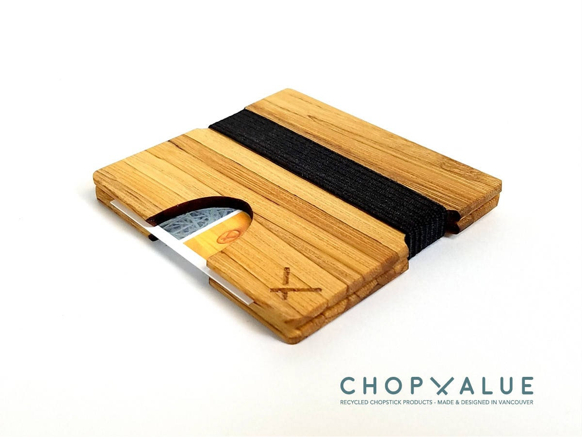 Upcycled Bamboo Square Business Card Holder Made from