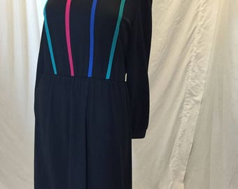 Vintage 60s 70s Retro Kay Windsor Long Sleeves Black Dress with Multicolor Piping High Neck ILGWU Tag