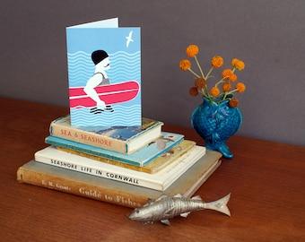 Surfer card - bellyboard card - surf card - Alison Bick card - vintage surf - retro surf - card for surfer - alisonbick - Alison Bick Design