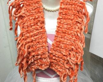 Soft and short orange scarf