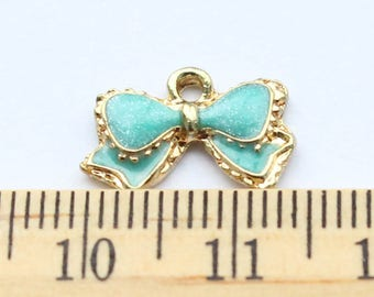 3 Blue Bow Pendant Charms - EF00099