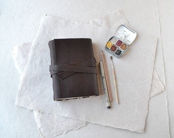 Brown Leather Journal - Chunky Rustic Leather Book with Mixed Media Paper