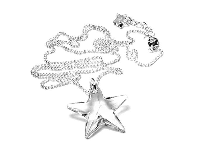 Clear Swarovski Crystal 28mm Star Pendant Necklace With Long Silver Chain July 4th Jewelry for Women Graduation Gift Teen Star Crossed Lover