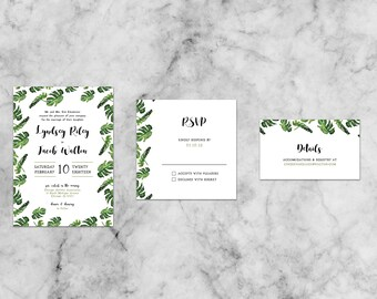 Lyndsey Leaf Suite   Customized Wedding Invitation Template Set