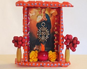 Virgin Mary Picture, Mexican Nicho, Wood Nicho, Mexican Folk Art, Virgin Mary Nicho, Ofrenda Decor, Mexican Wood Nicho, Day of the Dead