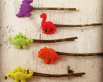 Dinosaur-Hair Bobby Pin-Accessory-Brachiosaurus-TRex-Stegosaurus-Triceratops-Red-Yellow-Green-Orange-Purple-Party Favour-Birthday