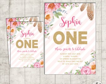 Boho burgundy pink gold floral first 1st birthday invitation pink and gold first birthday invitation floral birthday invite bohemian flowers boho birthday filmwisefo Image collections