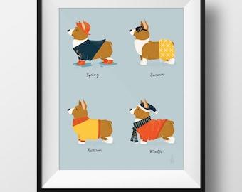 Fine Art Corgi Print - Seasonal Corgis Illustration