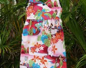 Girls Hawaiian Dress Fuchsia Kiana Crossfront Halter Dress 6m - 13/14