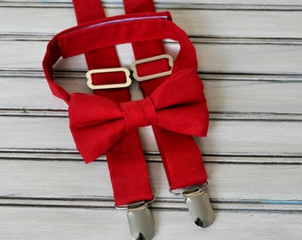 Crimson Red  Bow Tie and Suspenders for Men, Youth, Boys, Mothers Day Gift