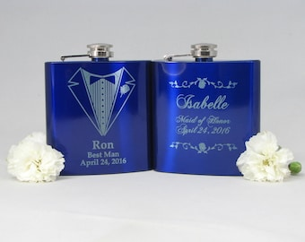 Personalized Groomsmen Gift AND Bridesmaid Gifts, Engraved Flasks, Bachelor & Bacholrette Party gifts, 2 Stainless Steel Flasks
