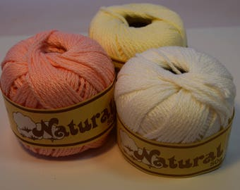 100% Cotton yarn 3 colors 50 g each