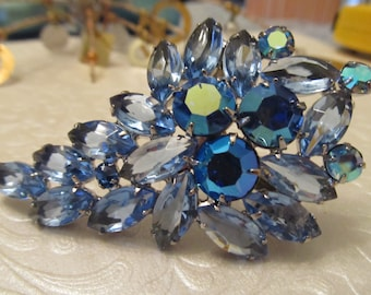 Vintage Large Blue Rhinestone Brooch - Open and Closed Back - Silver Tone Metal