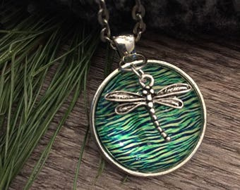 Dragonfly on Water Pendant Silver Green Blue Turquise Glass Original