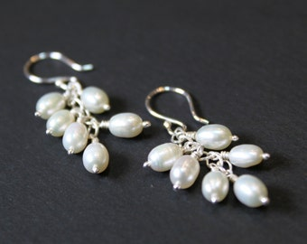 Pearl Silver Cluster Earrings