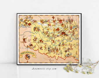 OKLAHOMA MAP - Enhanced High Res Digital Image Download -  vintage picture map for framing, totes, pillows and cards - wedding and wall art