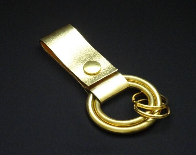Rings-of-Fire Keyring - Gold 2 - Genuine Kangaroo Leather Keychain for Key Keys Men Women Belt - Handmade - James Watson
