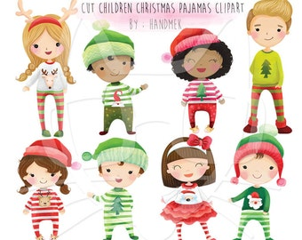 Christmas pajamas, Cute Christmas, Christmas children Clipart Instant Download,PNG file - 300 dpi