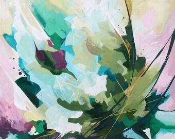 Peinture abstraite à l'acrylique, Fleurs, Tableau abstrait contemporain unique, peinture moderne sur  carton toilé, oeuvre d'art originale