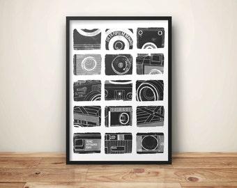 Camera Print // Film Camera Print // Vintage Cameras // Camera Wall Art // Camera Illustrations // Camera A4 Poster