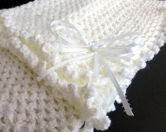 White Hand Knit Crochet Afghan Baby Blanket
