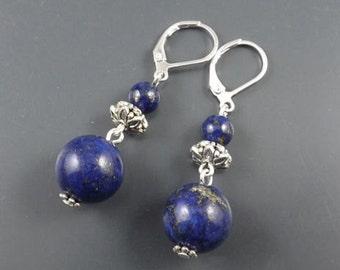 "1.25"" dangling- Lapis Lazuli gemstone beads handmade EARRINGS,10g,silver leverback hooks-0210E"