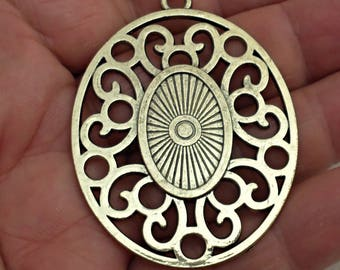 gold ox filigree Pendant Jewelry Findings made in USA /J2
