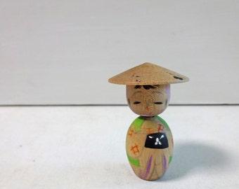 2.3in Vintage Japanese Miniature Wood KOKESHI Doll
