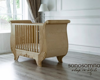 SALE!!!  Solid Birch Wood Sleigh Cot Bed