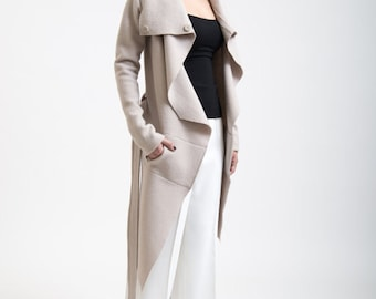 Light Wool Jacket / Asymmetrical Wool Jacket / Trench Coat with Pockets / Sweater Jacket / Nude Coat /  Marcellamoda k - MC0017