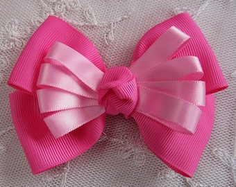 HOT PINK Grosgrain Satin Ribbon Bow Applique Bridal Baby Hair Accessory