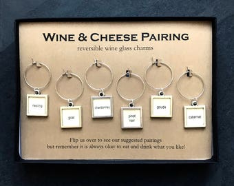 Reversible Wine Charms - Wine & Cheese Pairing, boxed
