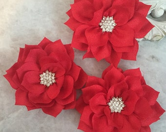 red poinsettia, kanzashi flowers, lotus flower, large flowers, winter flowers, headband flowers, headband supplies, poinsettia flowers