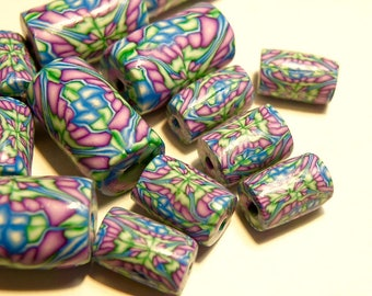 20 Coordinating Polymer Clay Tube Beads: Turquoise Blue, Lime Green, Purple Abstract Design - Lot 3P