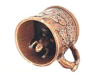 Rockingham Glazed Yellow Ware Frog Suprise Mug 19th Century