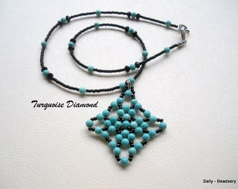 Beaded Turquoise Necklace, Beaded Pendant Necklace, Blue and Black, Beaded Necklace