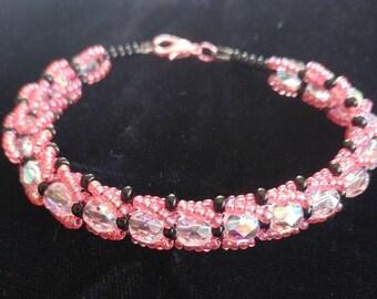 Fire polished and seed bead bracelet