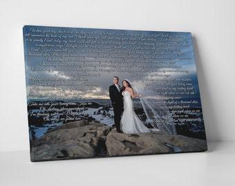 Song Lyric Art, First dance song, Anniversary gift, our song lyrics, wedding vow art, Paper anniversary, wedding song lyrics, vows on canvas