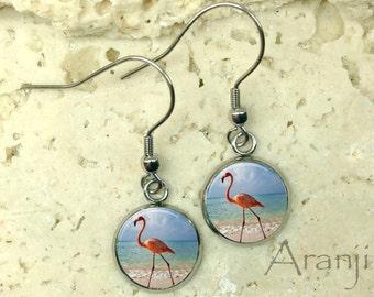 Glass dome flamingo earrings, flamingo earrings, flamingo earrings, Florida earrings, beach earrings AN122DP