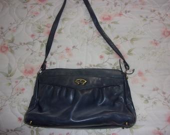 Vintage leather Navy Blue Etienne Aigner Shoulder bag