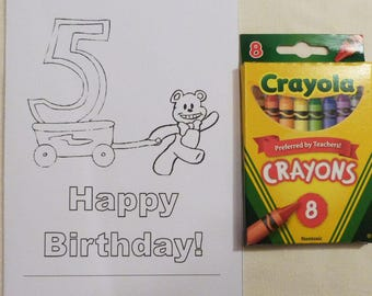 Larger Kids Birthday Year 5 Color Me Cards and a Pack of Colors, Child's  All Occasion Card, Handmade Greeting Cards, Made in the USA, #31
