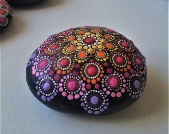 Jewel Drop Mandala Stone Elspeth Mclean Art Beach Dot Art Painted Stone Rainbow Rock Healing Grids Terrariums Positive Energy Rock